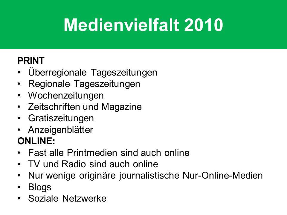 Medienvielfalt 2010 PRINT Überregionale Tageszeitungen