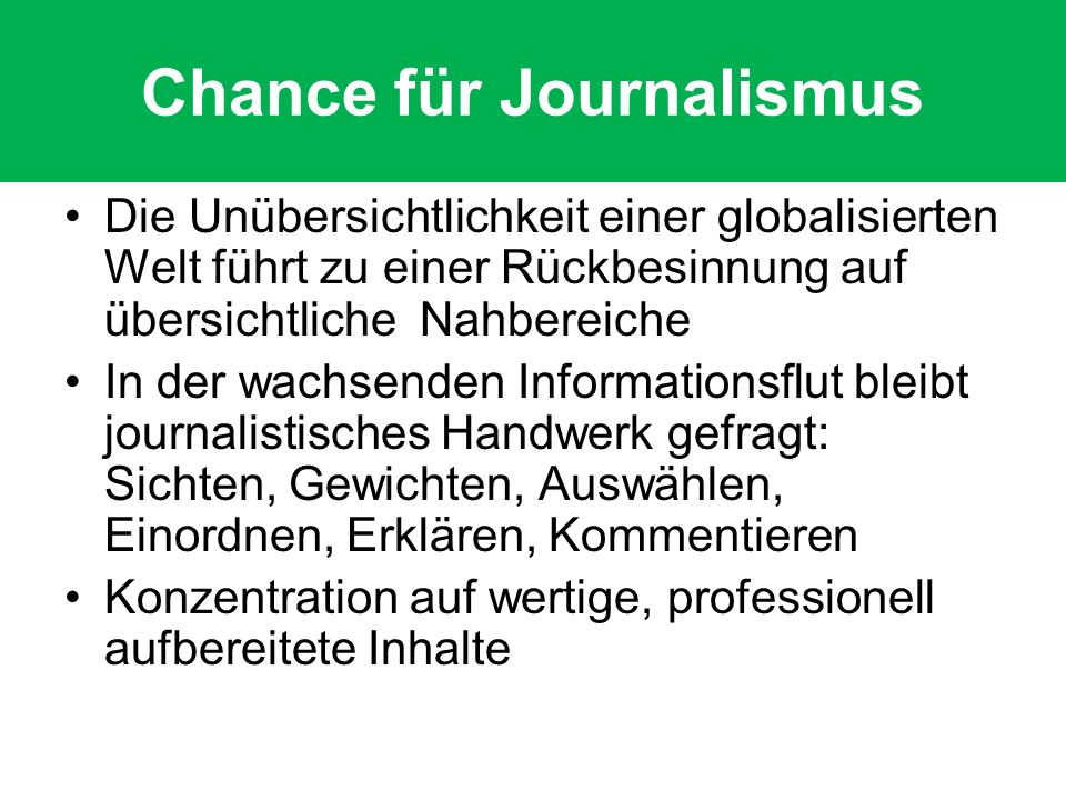 Chance für Journalismus