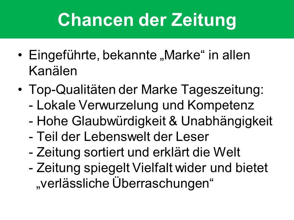 """Chancen der Zeitung Eingeführte, bekannte """"Marke in allen Kanälen"""