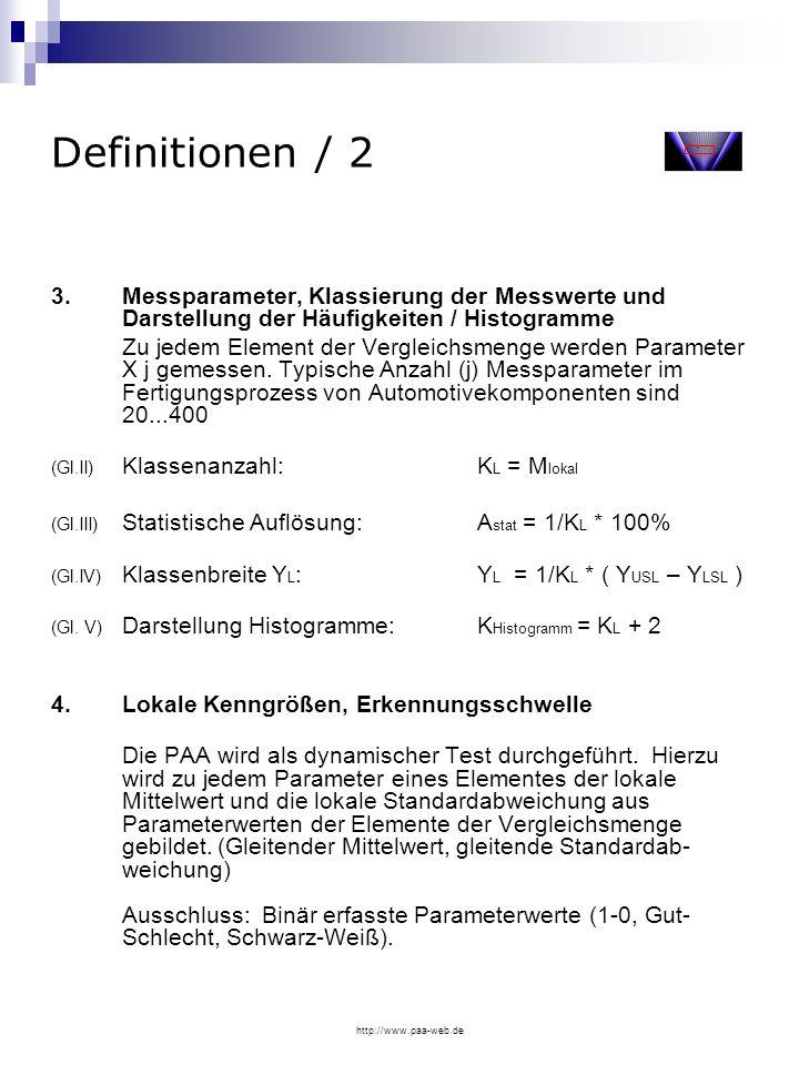 Definitionen / 2 3. Messparameter, Klassierung der Messwerte und Darstellung der Häufigkeiten / Histogramme.
