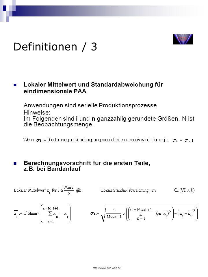 Definitionen / 3Lokaler Mittelwert und Standardabweichung für eindimensionale PAA. Anwendungen sind serielle Produktionsprozesse.