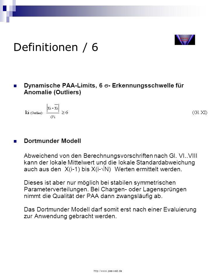 Definitionen / 6Dynamische PAA-Limits, 6 - Erkennungsschwelle für Anomalie (Outliers) Dortmunder Modell.