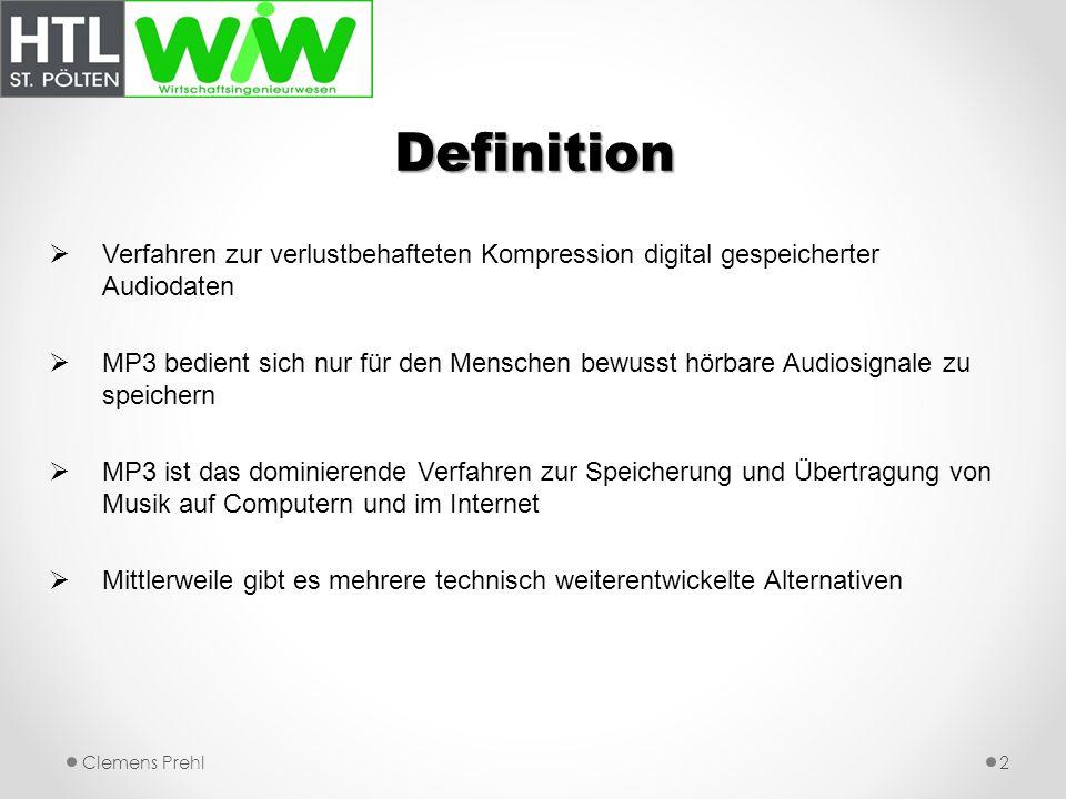 Definition Verfahren zur verlustbehafteten Kompression digital gespeicherter Audiodaten.