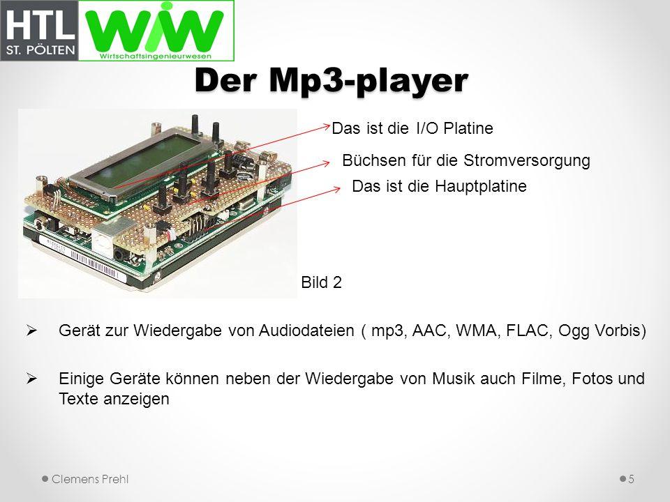 Der Mp3-player Das ist die I/O Platine Büchsen für die Stromversorgung