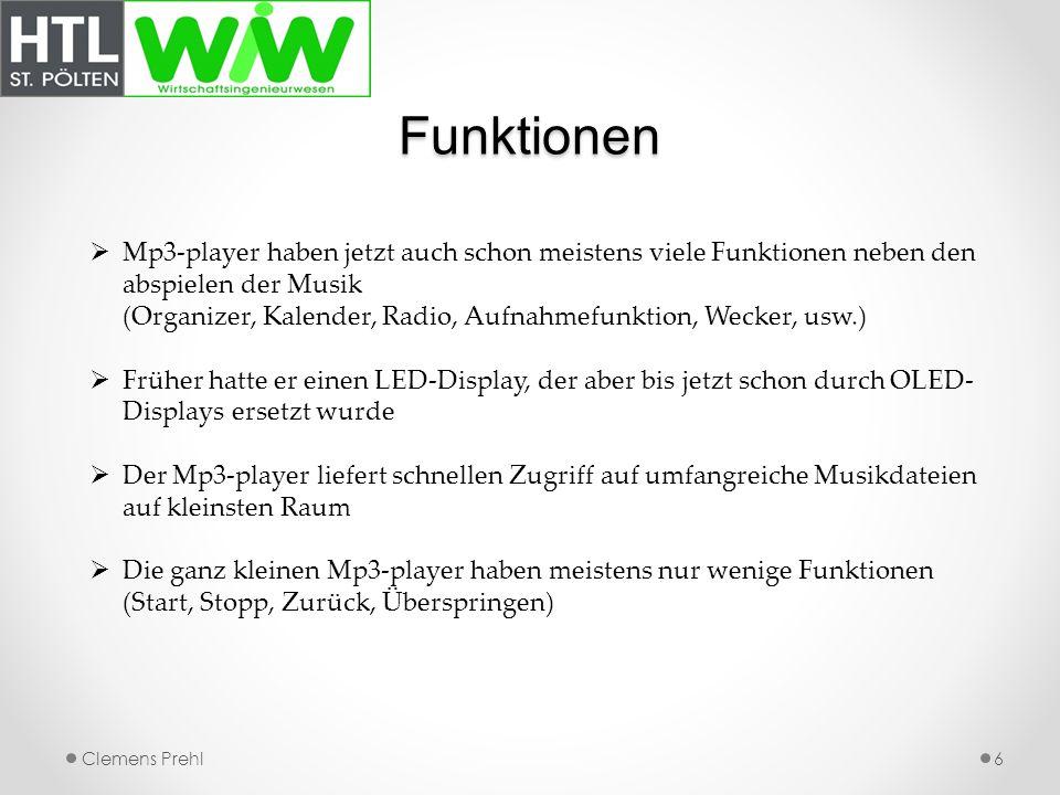 Funktionen Mp3-player haben jetzt auch schon meistens viele Funktionen neben den abspielen der Musik.
