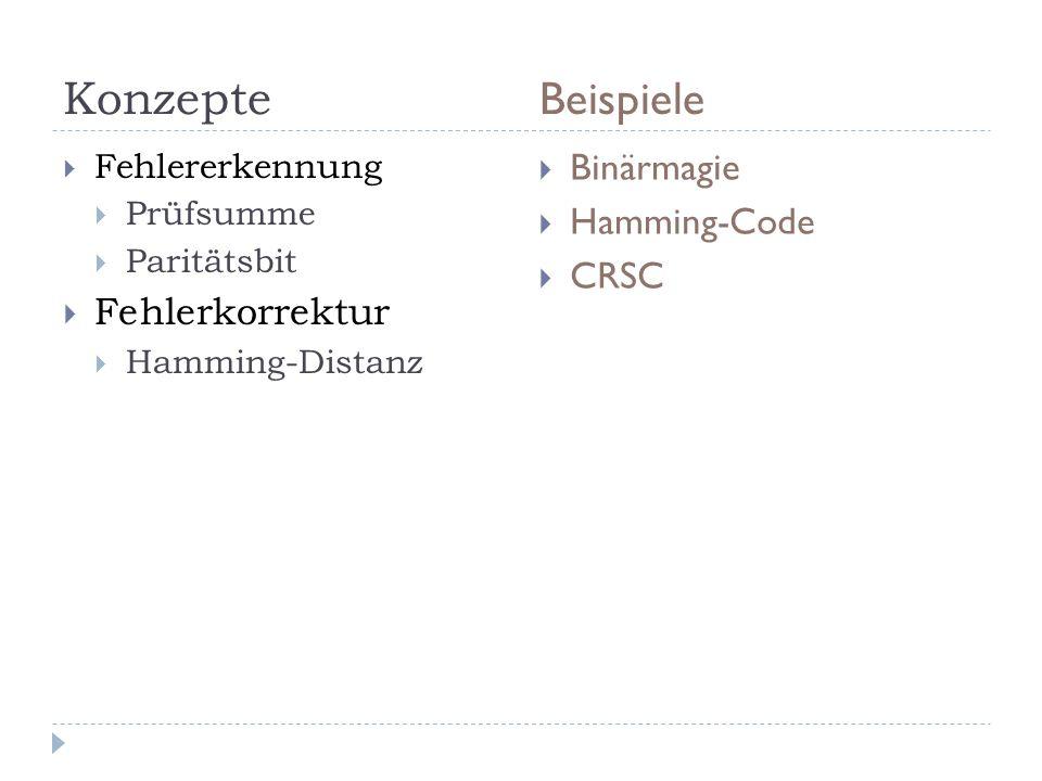 Konzepte Beispiele Binärmagie Hamming-Code CRSC Fehlerkorrektur