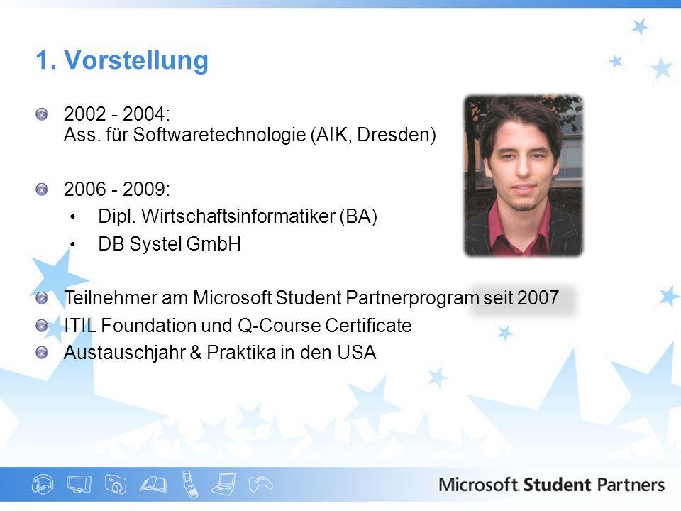 1. Vorstellung 2002 - 2004: Ass. für Softwaretechnologie (AIK, Dresden) 2006 - 2009: Dipl. Wirtschaftsinformatiker (BA)