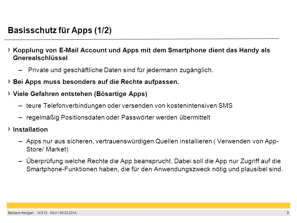 Basisschutz für Apps (2/2)