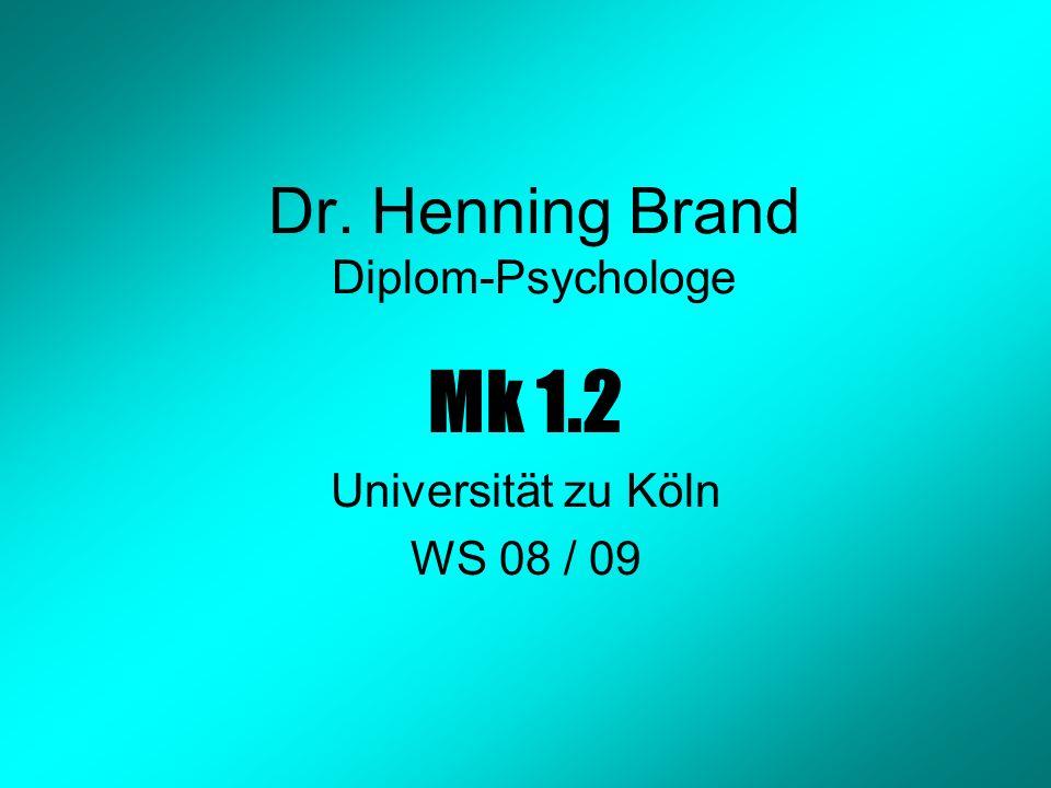 Dr. Henning Brand Diplom-Psychologe