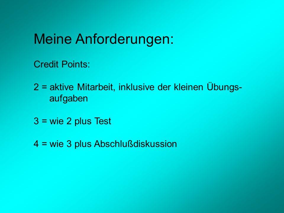 Meine Anforderungen: Credit Points: