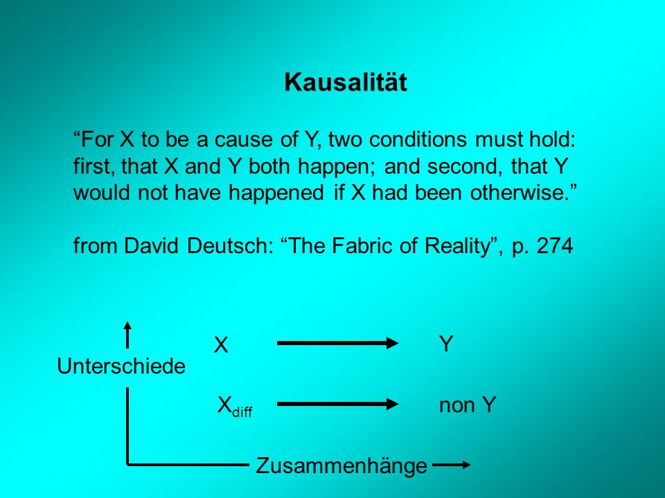 Kausalität For X to be a cause of Y, two conditions must hold: