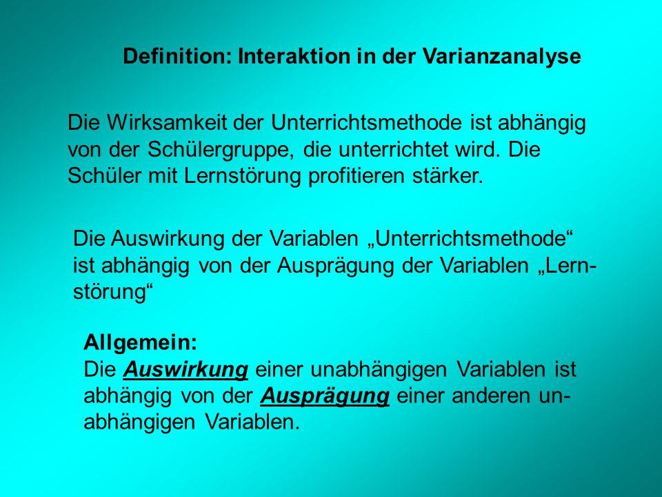 Definition: Interaktion in der Varianzanalyse