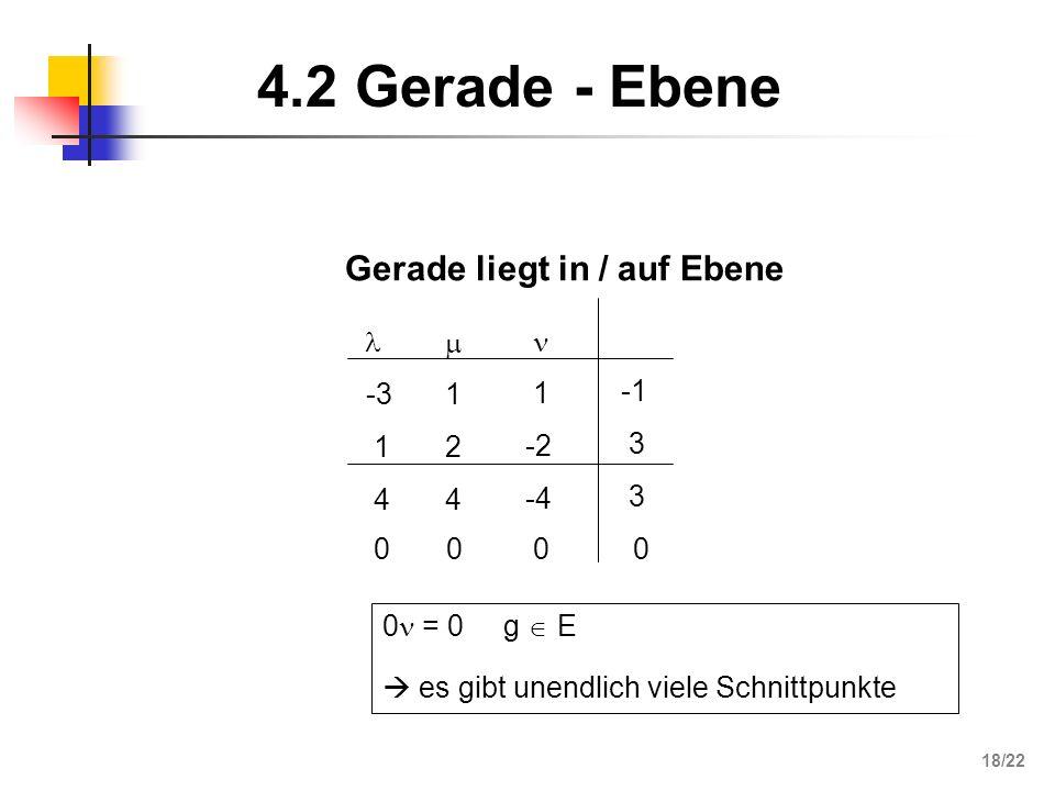 4.2 Gerade - Ebene Gerade liegt in / auf Ebene  -3 1 4 2   -1 3 -2