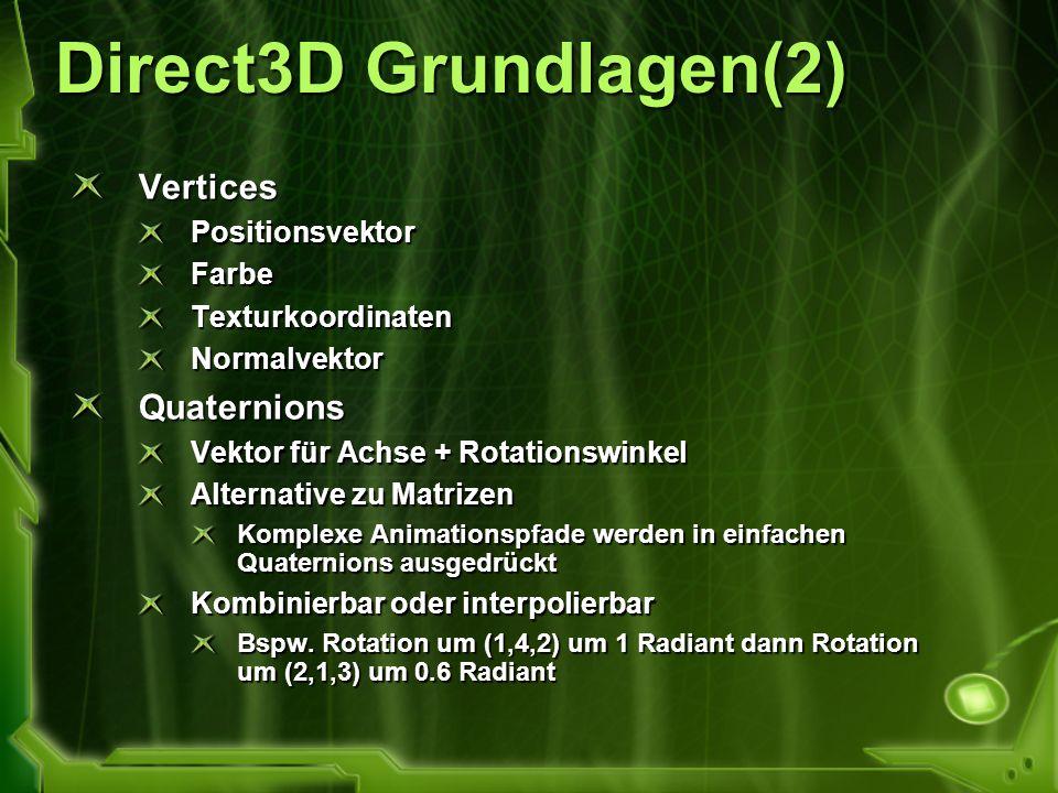 Direct3D Grundlagen(2) Vertices Quaternions Positionsvektor Farbe