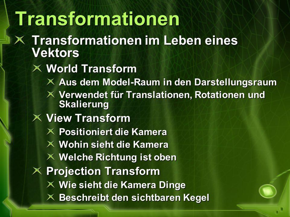 Transformationen Transformationen im Leben eines Vektors