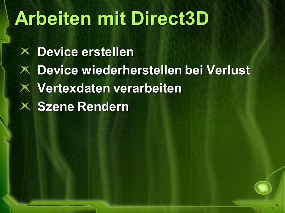 Arbeiten mit Direct3D Device erstellen