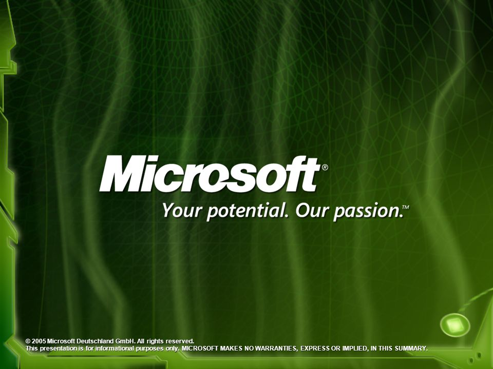 © 2005 Microsoft Deutschland GmbH. All rights reserved.