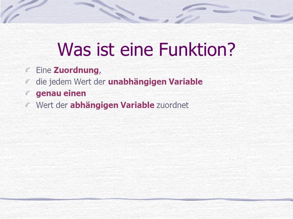 Was ist eine Funktion Eine Zuordnung,