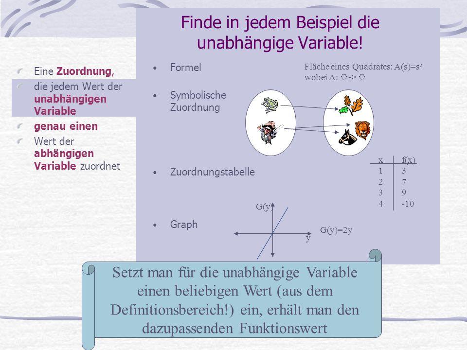 Finde in jedem Beispiel die unabhängige Variable!