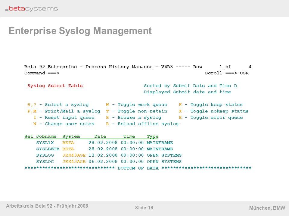 Enterprise Syslog Management