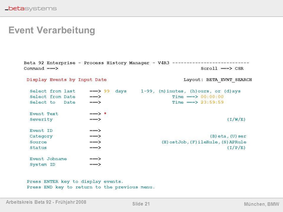 Event Verarbeitung Beta 92 Enterprise - Process History Manager - V4R3 ---------------------------