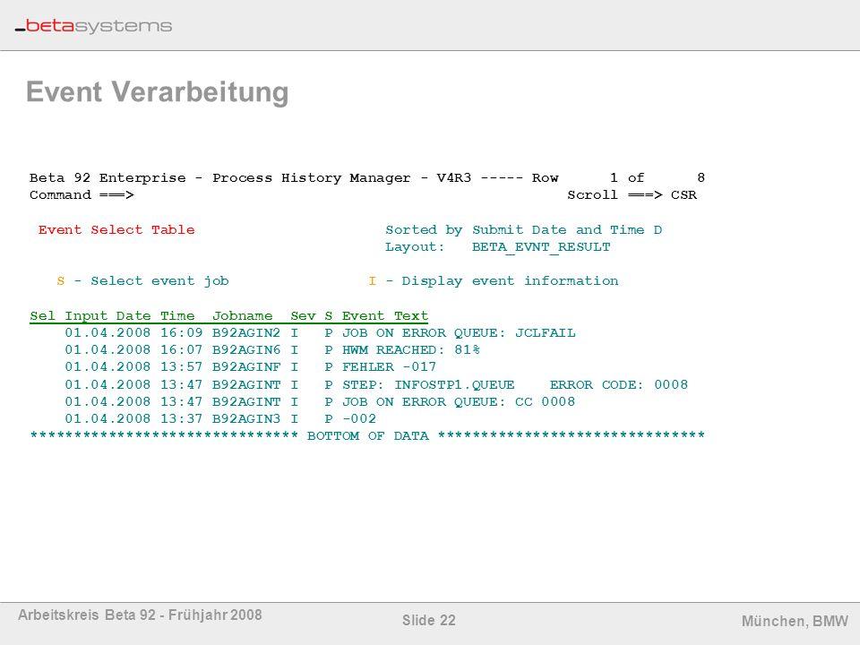 Event Verarbeitung Beta 92 Enterprise - Process History Manager - V4R3 ----- Row 1 of 8.