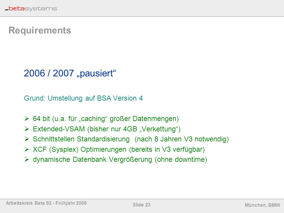 "Requirements 2006 / 2007 ""pausiert"