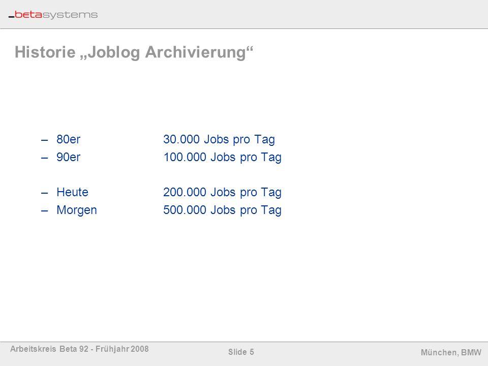 """Historie """"Joblog Archivierung"""