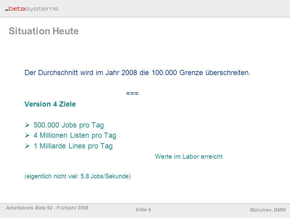 Situation Heute Der Durchschnitt wird im Jahr 2008 die 100.000 Grenze überschreiten. === Version 4 Ziele.