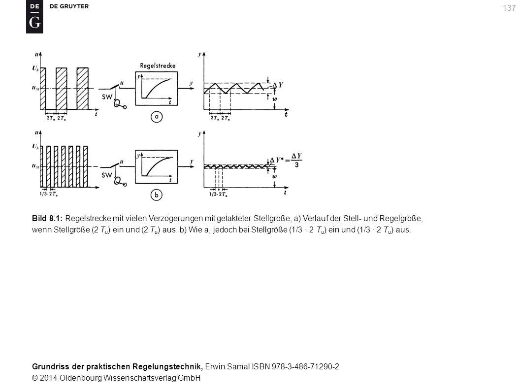 Bild 8.1: Regelstrecke mit vielen Verzögerungen mit getakteter Stellgröße, a) Verlauf der Stell- und Regelgröße,