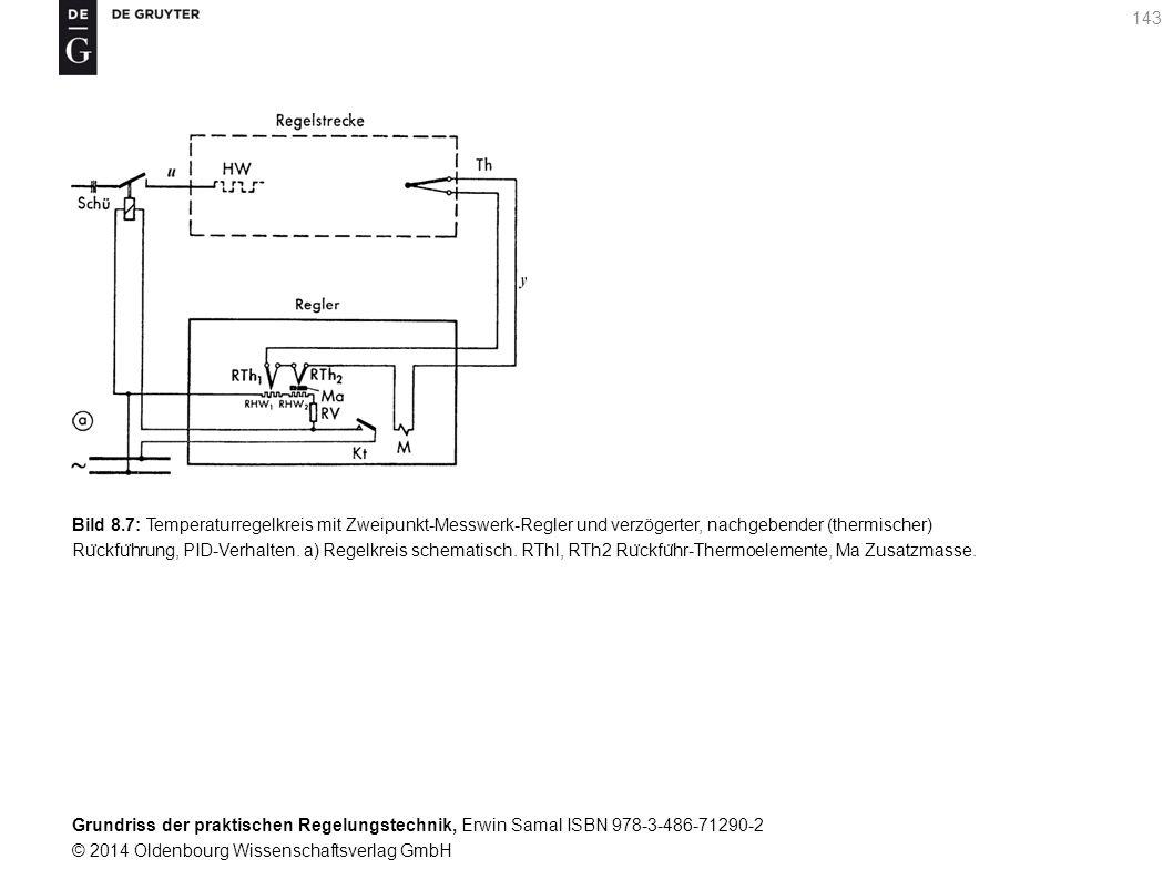 Bild 8.7: Temperaturregelkreis mit Zweipunkt-Messwerk-Regler und verzögerter, nachgebender (thermischer)