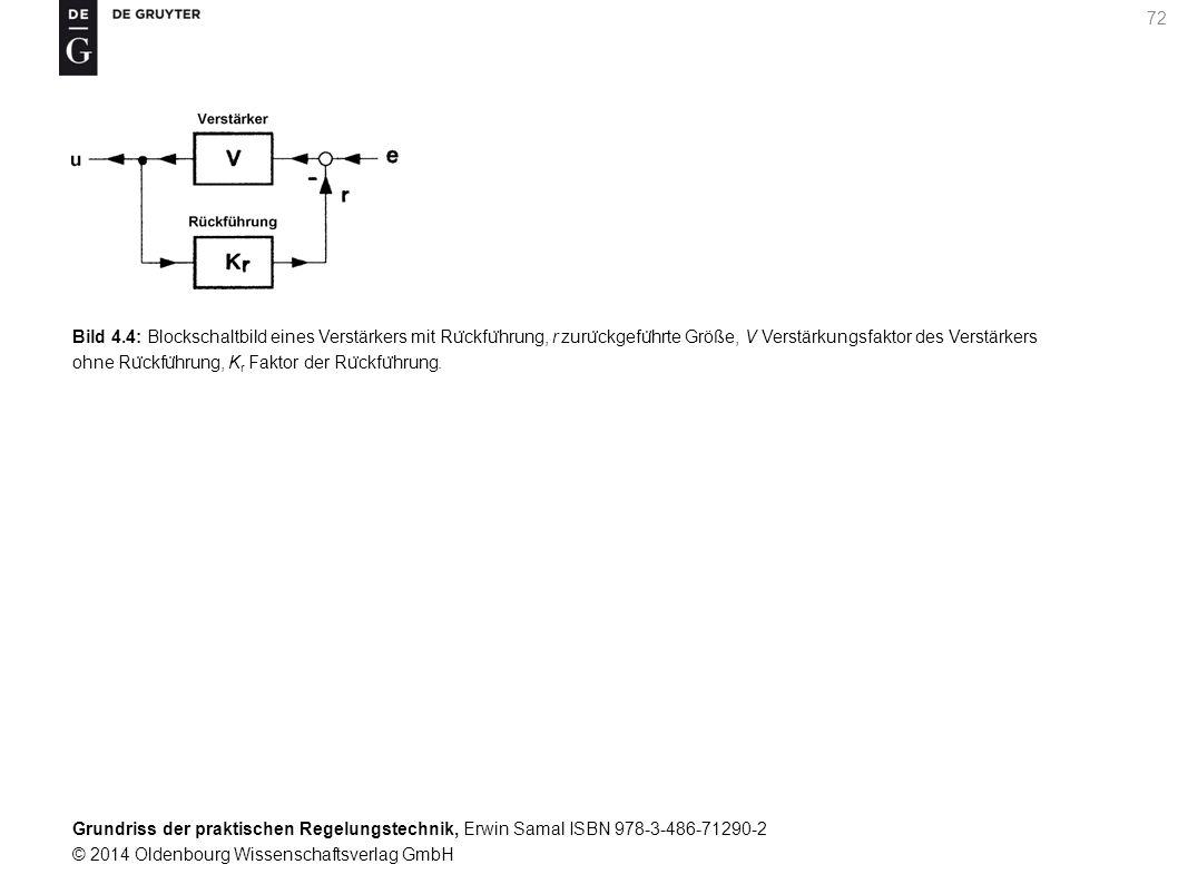 Bild 4.4: Blockschaltbild eines Verstärkers mit Rückführung, r zurückgeführte Größe, V Verstärkungsfaktor des Verstärkers ohne Rückführung, Kr Faktor der Rückführung.