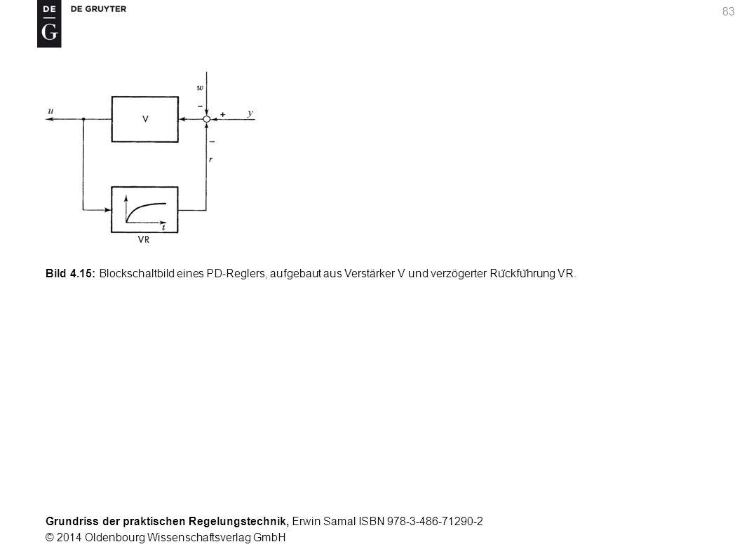 Bild 4.15: Blockschaltbild eines PD-Reglers, aufgebaut aus Verstärker V und verzögerter Rückführung VR.