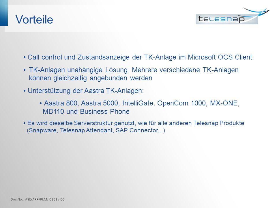 Vorteile Call control und Zustandsanzeige der TK-Anlage im Microsoft OCS Client.