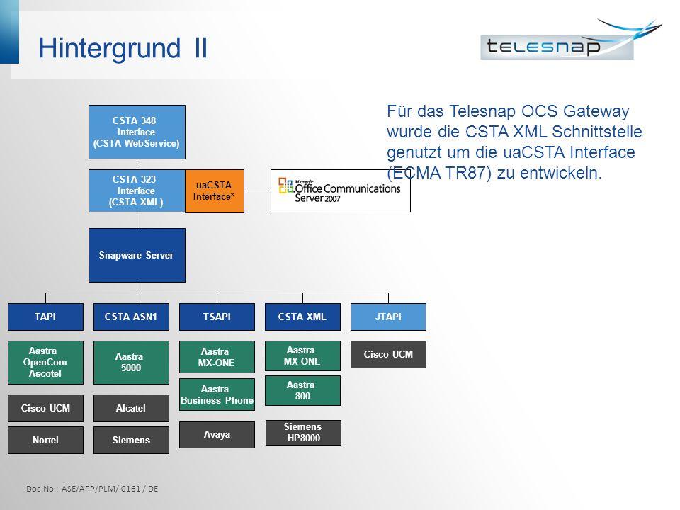 Hintergrund II Für das Telesnap OCS Gateway wurde die CSTA XML Schnittstelle genutzt um die uaCSTA Interface (ECMA TR87) zu entwickeln.