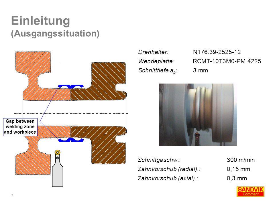 Gap between welding zone and workpiece
