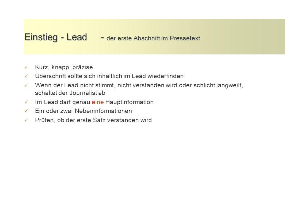 Einstieg - Lead - der erste Abschnitt im Pressetext