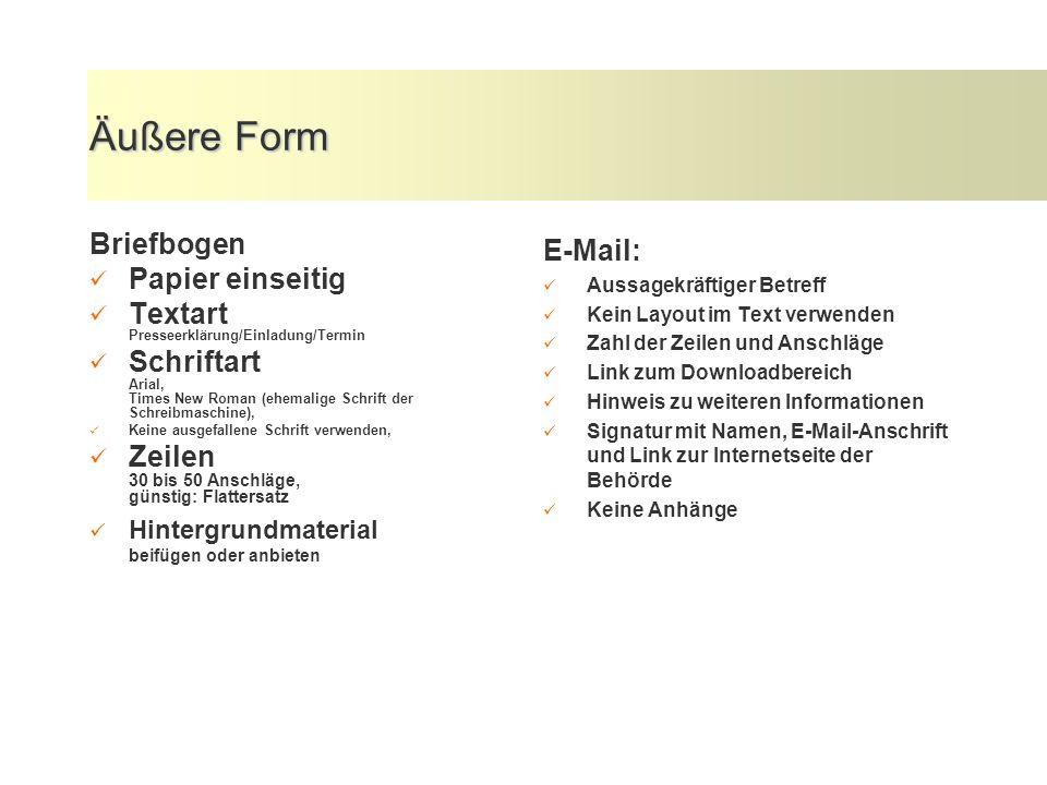 Äußere Form Briefbogen Papier einseitig