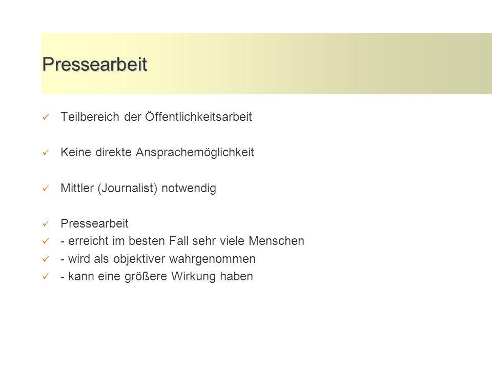 Pressearbeit Teilbereich der Öffentlichkeitsarbeit