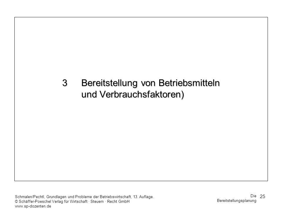 3 Bereitstellung von Betriebsmitteln und Verbrauchsfaktoren)