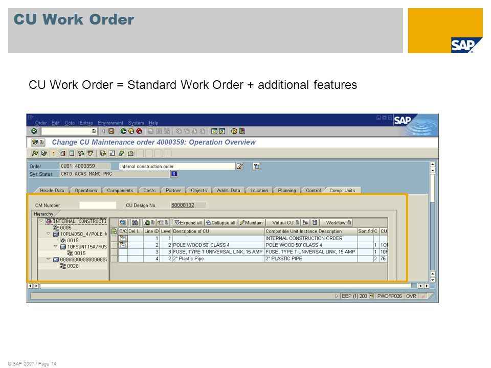 CU Work Order CU Work Order = Standard Work Order + additional features