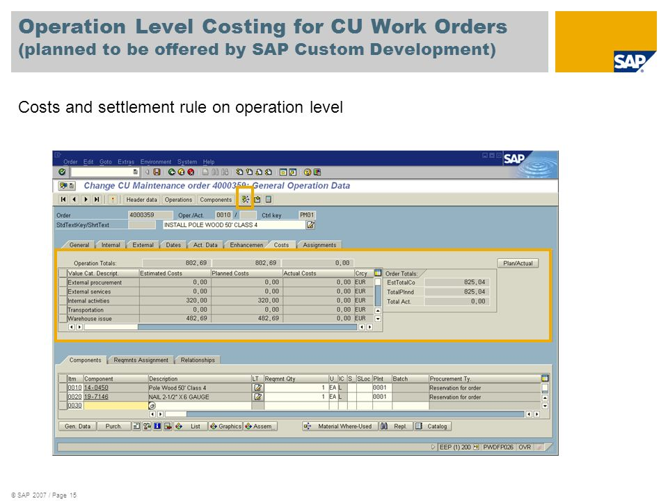 Operation Level Costing for CU Work Orders (planned to be offered by SAP Custom Development)