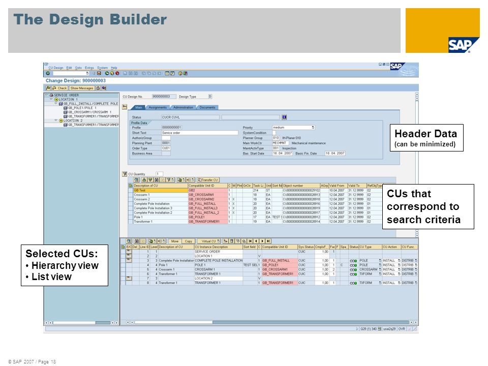 The Design Builder Header Data (can be minimized)
