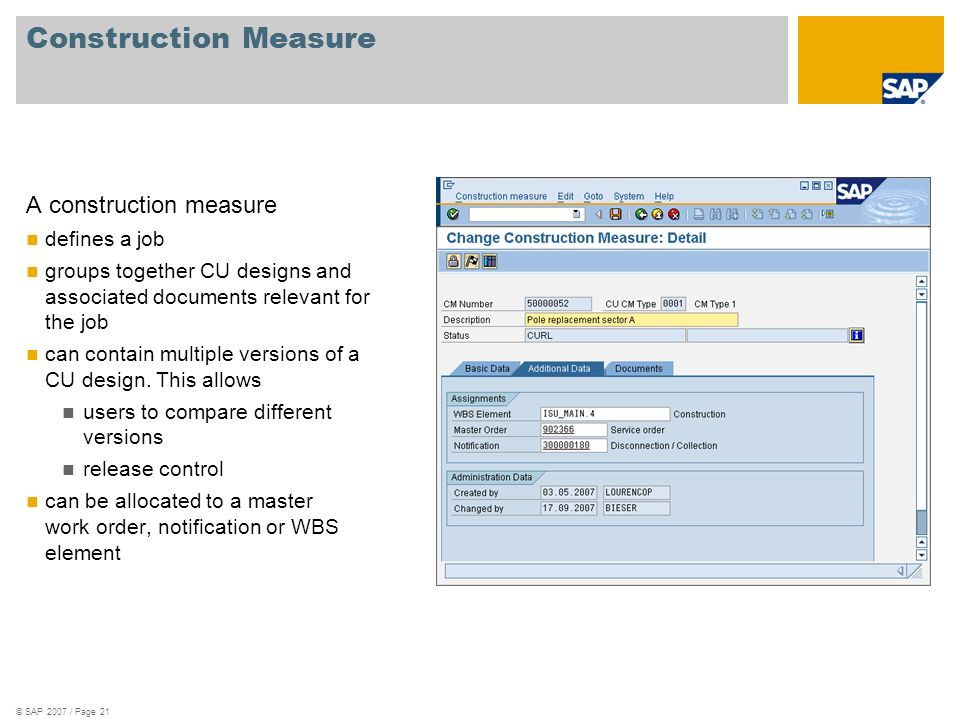 Construction Measure A construction measure defines a job