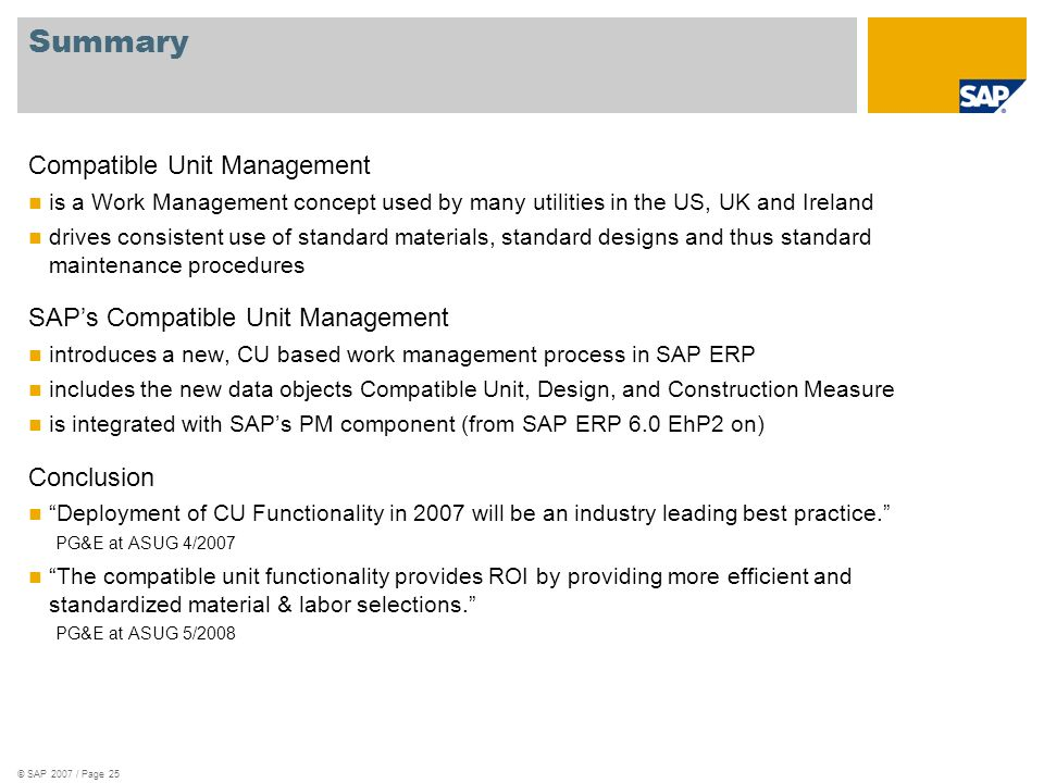 Summary Compatible Unit Management SAP's Compatible Unit Management