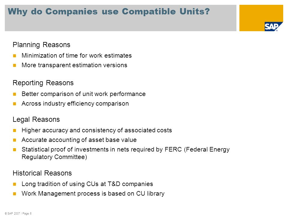 Why do Companies use Compatible Units