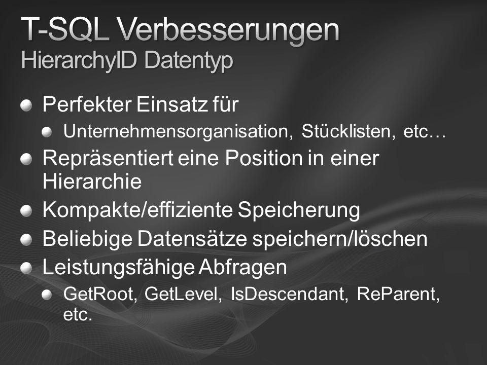 T-SQL Verbesserungen HierarchyID Datentyp