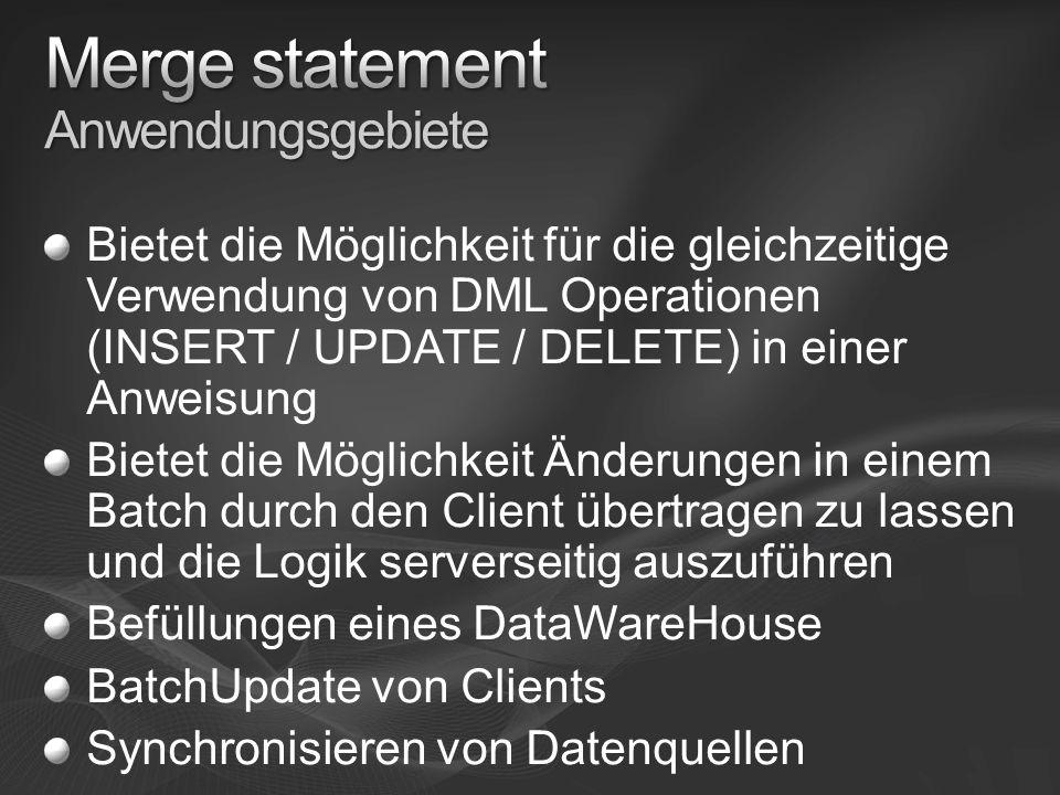 Merge statement Anwendungsgebiete
