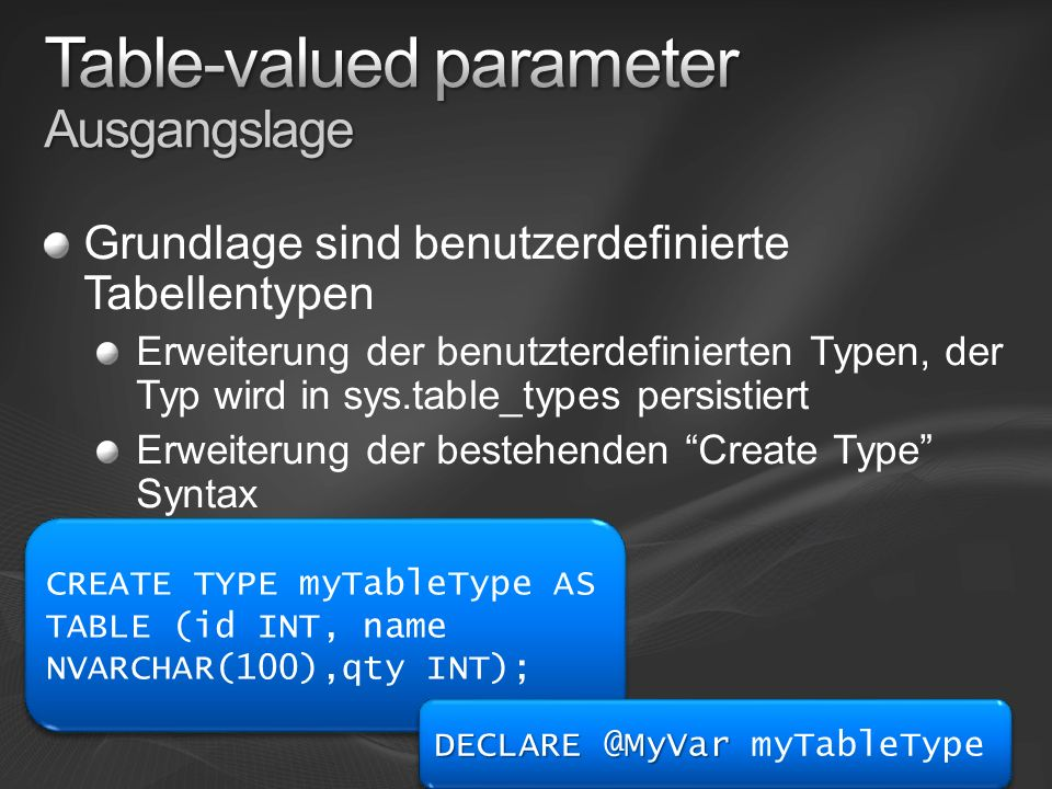 Table-valued parameter Ausgangslage