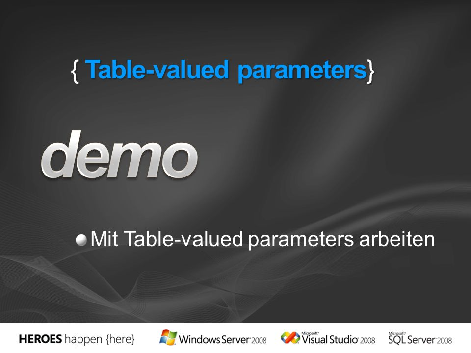 { Table-valued parameters}